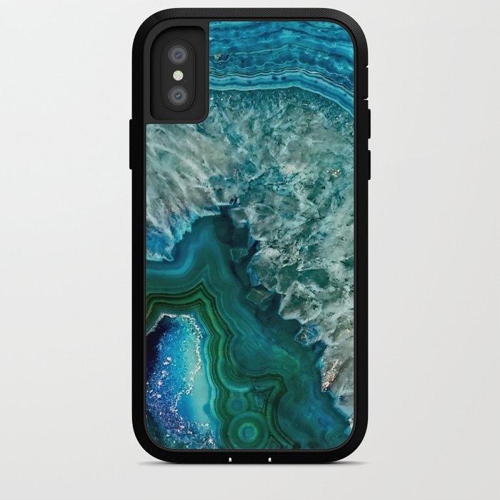 Aqua turquoise agate mineral gem stone iPhone Case