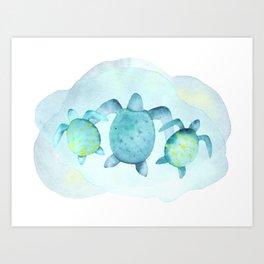 Swimming With Sea Turtles  Art Print
