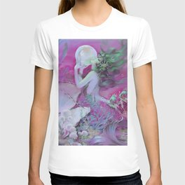 Mermaid With Pearl : Henry Clive Fuchsia Pink Seafoam T-shirt