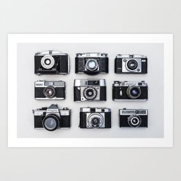 Old cameras in black and white Art Print