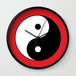 Yin and yang Symbol on red Wall Clock