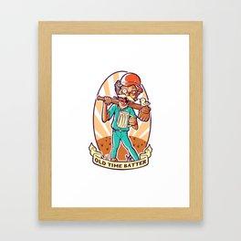 Drunkard Baseball PLAYER - Cinnabar RED Framed Art Print