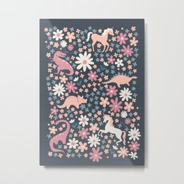 Floral Burst of Dinosaurs and Unicorns in Mauve + Peach Metal Print