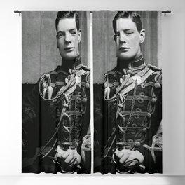 Winston Churchill, 1895 black and white portrait photograph Blackout Curtain
