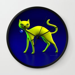 The Yellow Cat And Glass Blue Cherry Wall Clock