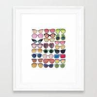 sunglasses Framed Art Prints featuring Sunglasses by Veronique de Jong