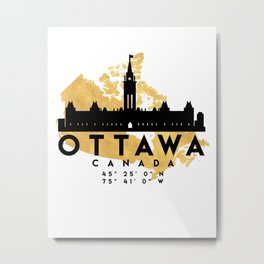 OTTAWA CANADA SILHOUETTE SKYLINE MAP ART Metal Print