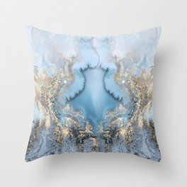 GOLD CLOUDS MARBLE Throw Pillow