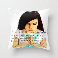 scripture Throw Pillows featuring Matthew 19:14 Bible scripture by Saribelle by Saribelle Inspirational Art