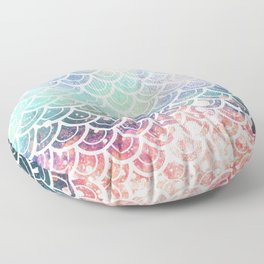 Mermaid Scales Coral and Turquoise Floor Pillow