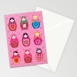 Matryoshka dolls pink Stationery Cards