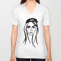 cara delevingne V-neck T-shirts featuring Cara Delevingne by Nobody People