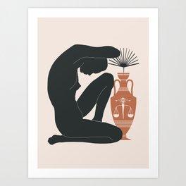 Female Figure and Terracotta Vase 2 Art Print