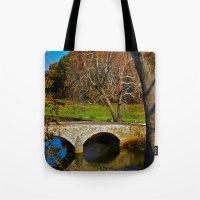battlefield Tote Bags featuring Burnside Bridge Antietam Battlefield by Biff Rendar