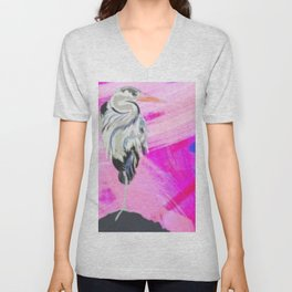 Heron at Sunset Unisex V-Neck