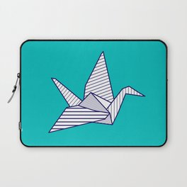 Swan, navy lines on turquoise Laptop Sleeve