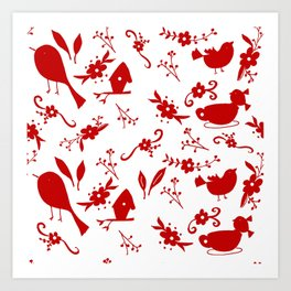 Garden Shadows-Red & White Art Print