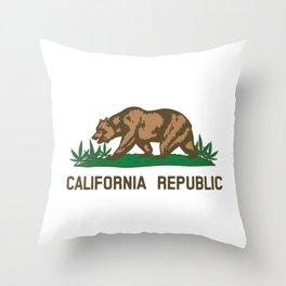 California Republic Bear with Marijuana Plants Throw Pillow