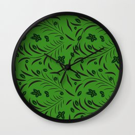 pattern with flowers and leaves hohloma style  Wall Clock