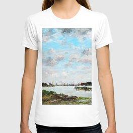 12,000pixel-500dpi - Eugene Louis Boudin - The Meuse near Dordrecht - Digital Remastered Edition T-shirt