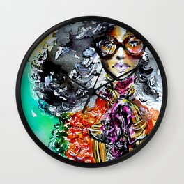 Retro colorful fashion illustration Wall Clock