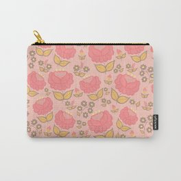 Retro floral - red, light pink, mustard Carry-All Pouch