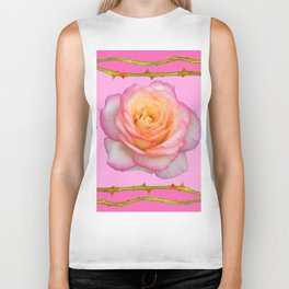 ROSE & RAMBLING THORNY CANES PINK BORDER PATTERNS Biker Tank