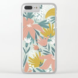 Seamless Pastel Colorful Floral Pattern Mystical Fantasy Clear iPhone Case