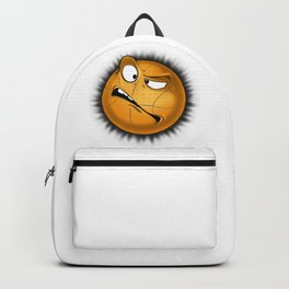 Cheerful basketball ball, got into trouble. Backpack