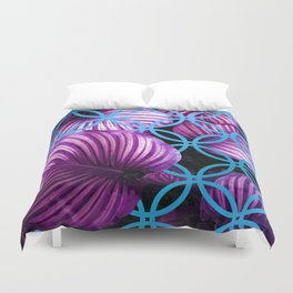 Purple Leaves Blue Geometric Duvet Cover