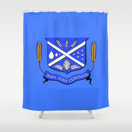 Give Us Beer College Emblem with Latin Script Shower Curtain
