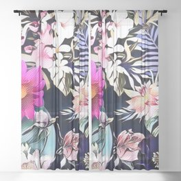 tropical flowers and leaves blue green pink purple white floral pattern Sheer Curtain