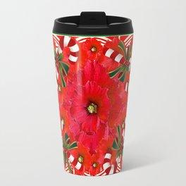 RED AMARYLLIS FLOWERS & HOLIDAY CANDY CANE FLORAL ART Travel Mug