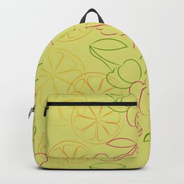 Outline cherries and lemon on yellow background Backpack