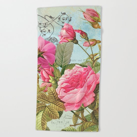 Vintage Flowers #3 Beach Towel