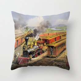 American Railroad Scene (Currier & Ives) Throw Pillow