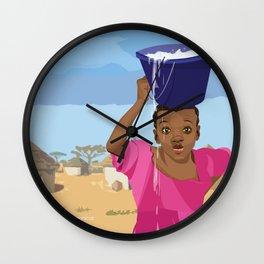 African Village Girl Wall Clock