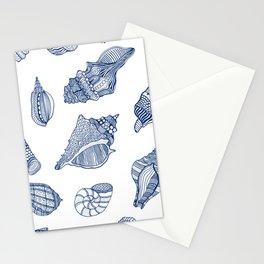 Navy Blue White Tropical Ocean Seaside Summer Beach Seashell  Stationery Cards