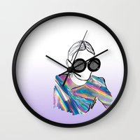 holographic Wall Clocks featuring Holographic by Fatima khayyat