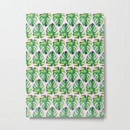 Watercolor tropical leaf X Metal Print