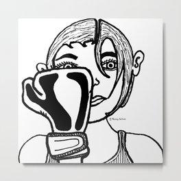 Lady Boxing Metal Print