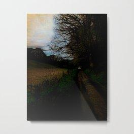 Wet Road Dawn In Spring Metal Print