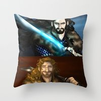 thorin Throw Pillows featuring Thorin & Fili by wolfanita