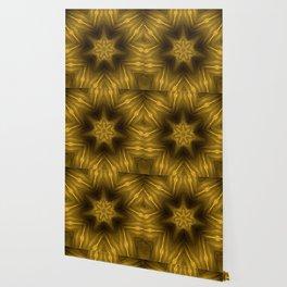 Golden Amber Metalic Abstract Star #Kaleidoscope Wallpaper