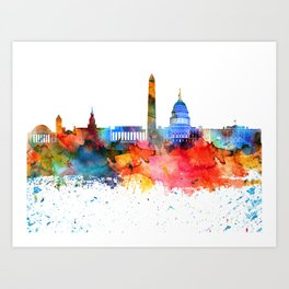 Washington Colorful Drops Skyline Art Print