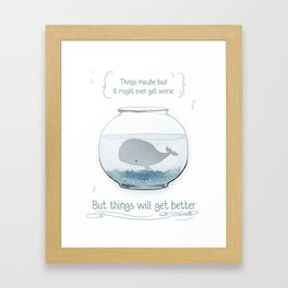 Whale in a Fishbowl Framed Art Print