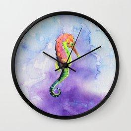 Colorful Watercolor Seahorse Wall Clock