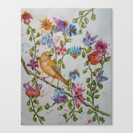 YELLOW BIRD WITH WHIMSICAL FLOWERS AND BUTTERFLIES Canvas Print