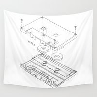 tape Wall Tapestries featuring Exploded Cassette Tape  by Rem N