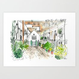 Stanhope Mews Watercolour Art Print